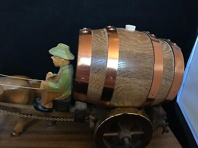 German Wood Sculpture Wine Barrel Horse Carriage!Hand Made