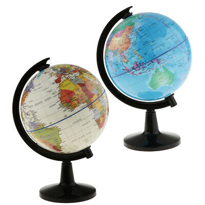 Swivel Stand World Globe for Desk Decoration Geography Education 16cm H