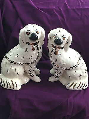 Antique Staffordhsire Pottery Mantle Pair of Spaniels