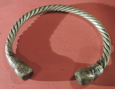 Antique Viking Decorated Bronze Silver Sterling Bracelet From Northern Russia