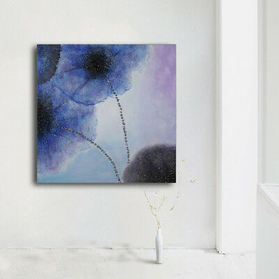 Modern Oil Painting Blue Lotus Flower Hand-painted On Canvas Frame Wall Deco Art