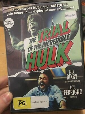 The Trial Of The Incredible Hulk ex-rental region 4 DVD (1989 Lou Ferrigno movie