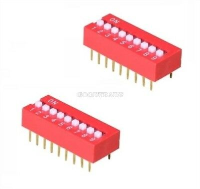 1Pcs Red 2.54MM Pitch 9-Bit 9 Positions Ways Slide Type Dip Switch J12 c