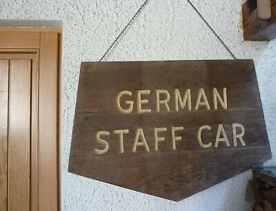 "Kfz Parken Schild USA Holzschild massiv  ""German Staff Car"", beidseitig"