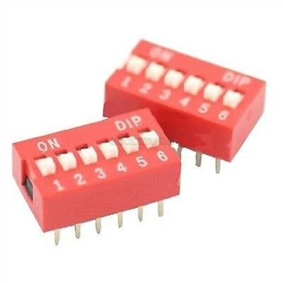 100Pcs Slide Type Switch Module 2.54MM 6-Bit 6 Position Way Dip Red Pitch p