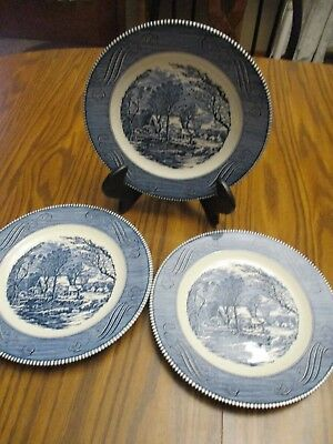 """Currier and Ives The Old Grist Mill 10"""" Blue Dinner Plates Lot Of 3"""