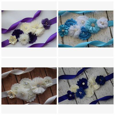 Maternity Flower Belly Sash Wedding Baby Shower Vintage Belt Pregnant Photo Prop