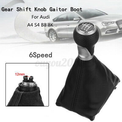 6 Speed Manual Gear Shift Knob Gaiter Boot Leather For Audi A4 S4 8K A5 S-Line