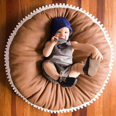 Baby Infant Crawl Area Rug Kids Game Play Mat Soft Cotton Brown Cushion Lounger