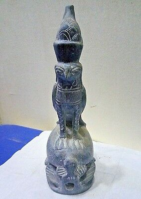ANCIENT EGYPTIAN ANTIQUE Horus on Scarab Statue Stone 1542-1496 BC