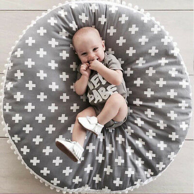 Baby Infant Crawl Area Rug Kids Game Play Mat Soft Cotton Cross Cushion Lounger