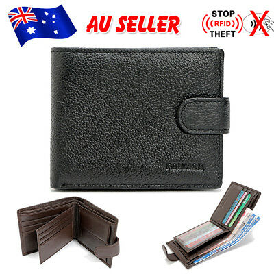 Mens Wallets Leather Purse Bifold Credit Card Holder Credit RFID Blocking Slim