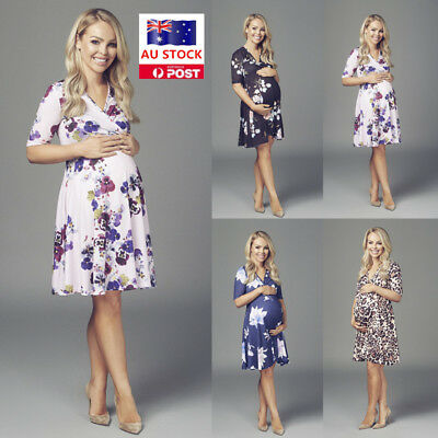 AU Maternity Pregnant Women Floral Wrap Beach Party Cocktail Casual Swing Dress