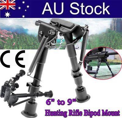 "Adjustable 6"" to 9"" Height Sniper Hunting Rifle Bipod Sling Swivel Mount Holder."