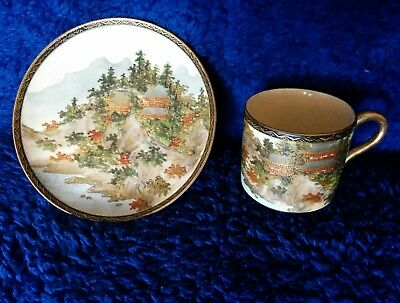 Antique Japanese Satsuma Cup And Saucer. Meiji Period ?