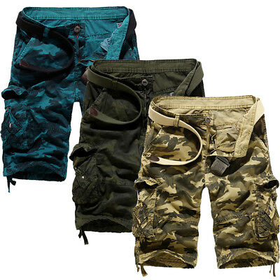 Mens Camo Casual Cargo Shorts Military Army Combat Half Pants Outdoor Trousers