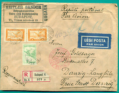1930 Ungarn Hungary Budapest - Berlin - Danzig Registered Air Cover