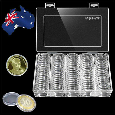 100x 30mm Transparent Plastic Round Case Coin Storage Capsules Holder Box AU!