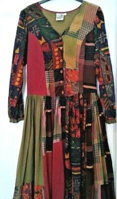 Phool 1970's Indian Cotton Gauze Smock Dress. Boho Hippy. Patchwork Style. 12-14