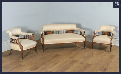 Antique Three 3 Piece Edwardian Rosewood Mahogany Inlaid Salon Sofa Suite c.1900
