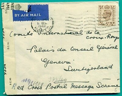 1942 England - Croix Rouge Red Cross Geneve Switzerland Air Censor