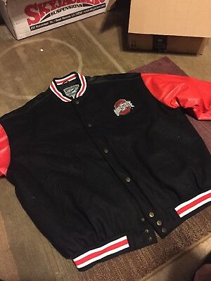 2dcf043ed MEN'S BLACK RED Ohio State Varsity Leather Bomber Jacket Sz.XXL 2XL