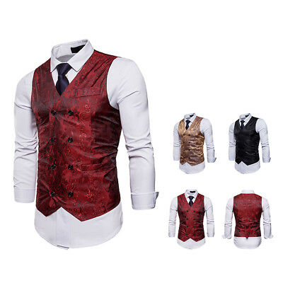 Mens Tweed Waistcoat Vintage Double Breast Chest Dinner Suit Wedding Tuxedo Suit