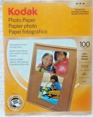 Kodak Photo Paper 100 Sheets Glossy 8.5x11 High Quality Instant Dry New in Box