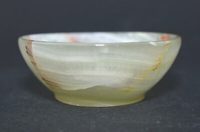 "2.83"" Onyx Agate Bowl Hand Carved Pure Gem Stone Funtional Handmade M266"