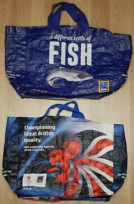 2x aldi bag for life reusable shopping carrier bags
