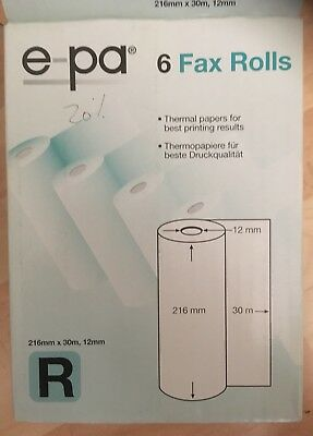 e-pa Pack of 4 Thermal paper Fax Rolls 30m x 216mm x 12mm