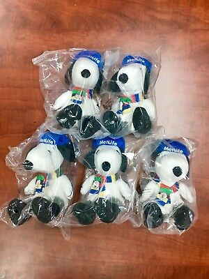 "Lot of 5 Peanuts MetLife 6"" Plush Snoopy Dolls Winter Olympics Free Shipping!"
