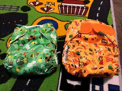 2x Brand New Tots Bots Easyfit All In One Nappies Storytime Designs