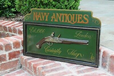 Vintage English Navy Antiques Painted Wood Pub Bar Tavern Sign London Flintlock