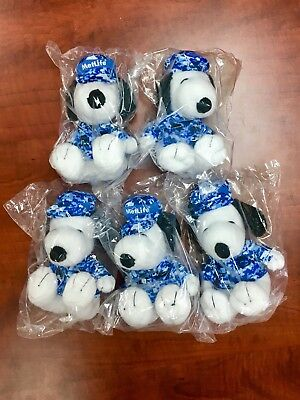"Lot of 5 Peanuts MetLife 6"" Plush Snoopy Dolls Military w/ Hat Free Shipping!"