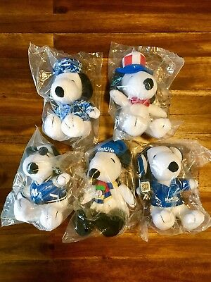 "Lot of 5 Brand New Peanuts 6"" MetLife Plush Snoopy Dolls Free Shipping!"