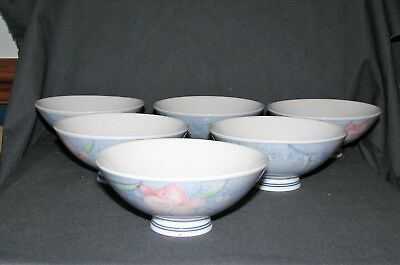 "6 Vintage Japanese Pastel Floral Design 4 3/4"" Diameter Rice Soup Bowls  Japan"
