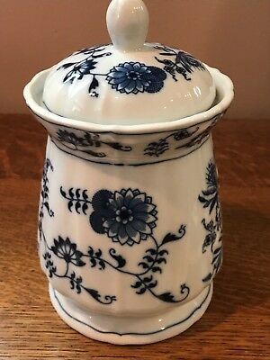 Blue Danube Candy or Cookie Jar with Imperfect Lid Ribbon Stamp