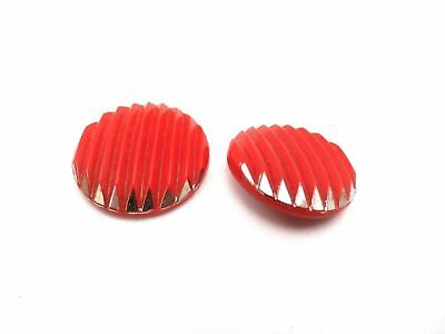 "Vintage Buttons 1920s Art Deco Red Glass Silver Tipped Ridged 1"" Shank"