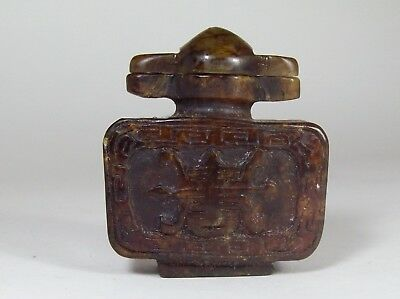 Asian Snuff Bottle Pendant Brown With Carved Turtle Design