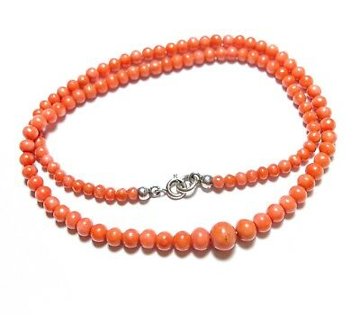Beautiful Vintage Or Antique Graduated Coral Bead Necklace Chain Chinese (A14)