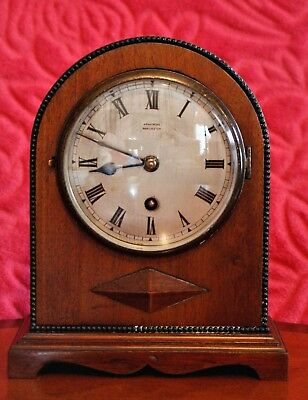 Vintage Art Deco English 'Armstrong Manchester' Oak Case 8-Day Mantel Clock
