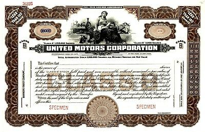 The United Motors Corporation of New York ca 1930 SPECIMEN Stock Certificate