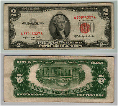1953B $2 Dollar Bill Old Us Note Legal Tender Paper Money Currency Red Seal P603