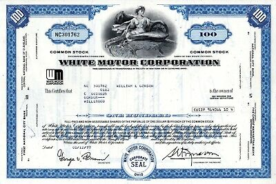 The White Motor Corporation 1977 Type 2 Stock Certificate - blue (WM logo)