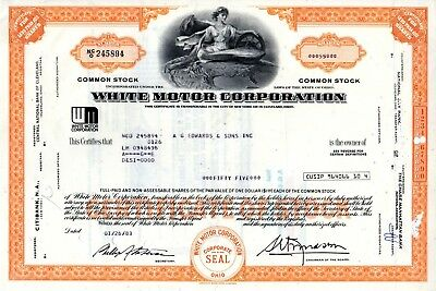 White Motor Corporation 1970's-80's Type 2 Stock Certificate -orange (WM logo)