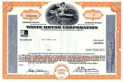 White Motor Corporation 1970's Type 4 Stock Certificate - orange- silver overlay