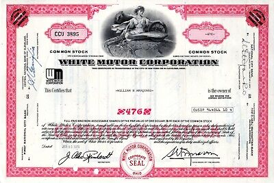 White Motor Corporation 1970's Type 2 Stock Certificate - red  (WM logo)