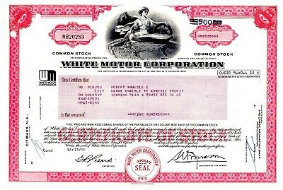 White Motor Corporation 1970's-80's Type 3 Stock Certificate - red  (WM logo)