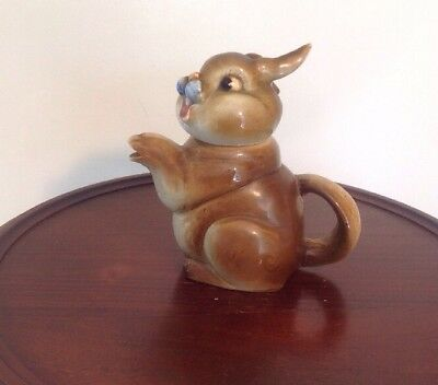 Vintage 1950's SHAFFORD Japan Hand Painted Figural Bunny Rabbit Teapot w/ Lid 6""